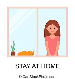 woman stay at home to prevent from virus spreading, flu prevention, coronavirus, covid-19, social isolation and self quarantine concept