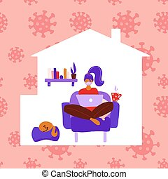 Woman stay at home working to avoid coronavirus danger. Self quarantine concept. Female person inside house silhouette. Girl sitting in a chair and working on a laptop. Vector flat illustration.