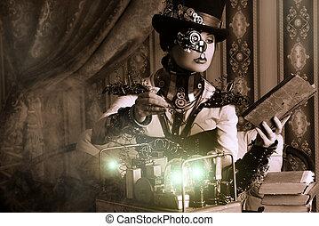 woman steampunk - Portrait of a beautiful steampunk woman...