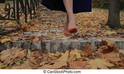 Woman stepping down on stairway in city at fall