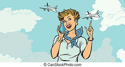 woman stewardess with phone, sky and planes