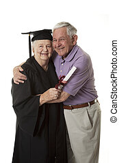 Woman - Beauitiful Caucasian woman in a black graduation...