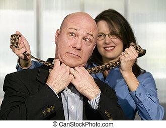 Woman Strangles CoWorker - Businesswoman strangles a male...