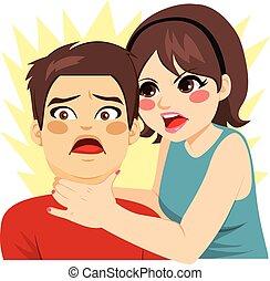 Woman Strangling Man