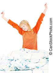 woman stretched arms in bad