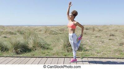 Woman stretching a leg