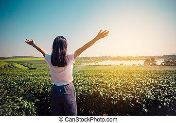 Woman stretching fresh air