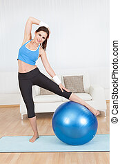 Woman stretching her muscles
