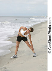woman stretching on