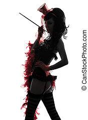 woman stripper showgirl portrait silhouette - one caucasian ...