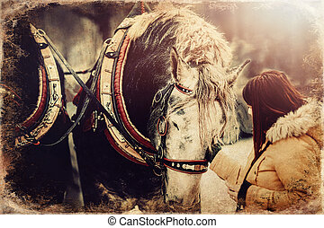 woman stroking work horse, old photo effect. - woman ...