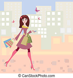 Woman strolls the city shopping