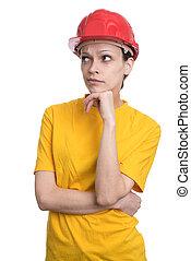 Woman structural engineer in red hard helmet