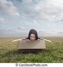 Woman stuck in box