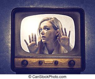 Woman stuck in TV