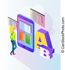 Woman student character reading electronic e-book by smartphone screen. Online web library education documentation learning. Vector flat cartoon isolated concept banner illustration