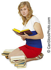 Woman - student reads books on white background