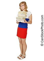 Woman - student with a pile of books