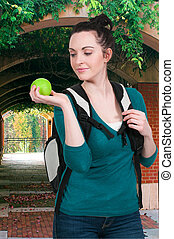 Woman Student with Apple
