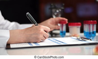 Woman Studying Sample. - Scientist Woman Studying And Marker...