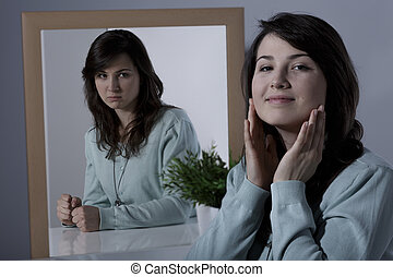 Woman subduing her feelings - Image of hypocritical woman...