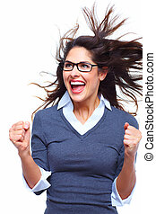 woman., success., handlowy, szczęśliwy