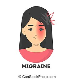 Woman suffer from the migraine. Pain on the one half