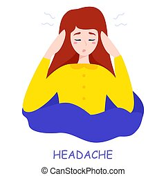 Woman suffer from the pain in the head. Headache and stress
