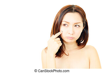 Woman suffer from wrinkles
