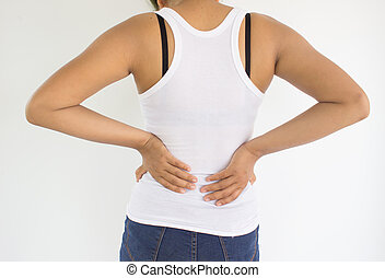 Woman suffering from back pain or spine pain