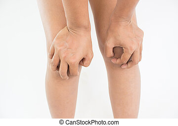 Woman suffering from knee pain