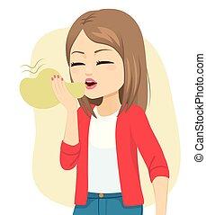 Woman Suffering Halitosis Bad Breath