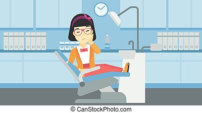 Woman suffering in dental chair. - An asian young female...