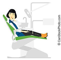 Woman suffering in dental chair. - An asian patient sitting...