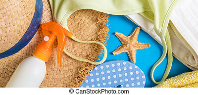 Woman summer outfit top view on banner blue background. Fashion vacations concept