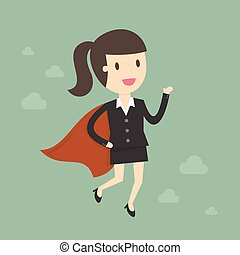 woman., super, business