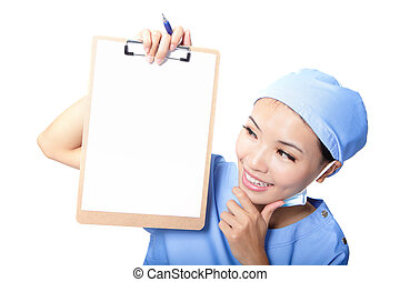 Woman surgeon doctor showing clipboard