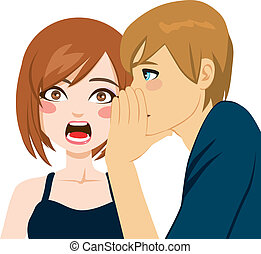 Woman making shocking face expression surprised by man telling secret gossip news in her ear
