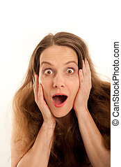 Woman, surprised with open mouth