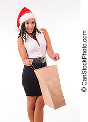 woman surprized with shopping bag