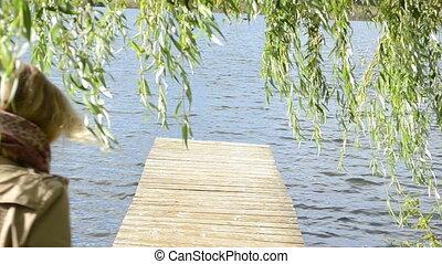 woman swan bird bridge