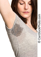 Woman sweating very badly under armpit