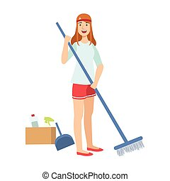 Woman Sweeping A Floor With Broom, Cartoon Adult Characters Cleaning And Tiding Up