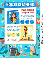 Woman sweeping and mopping. House cleaning service