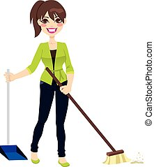 Woman doing chores sweeping the floor with broom and dustpan