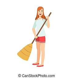 Woman Sweeping The Floor With Broom, Cartoon Adult Characters Cleaning And Tiding Up