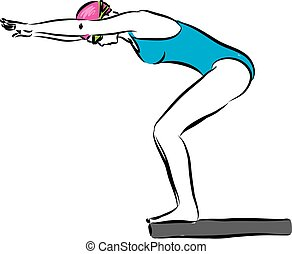 woman swimmer 1 starting competition illustration