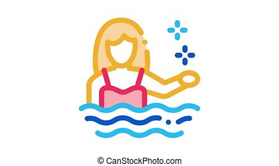 woman swimmer Icon Animation. color woman swimmer animated icon on white background
