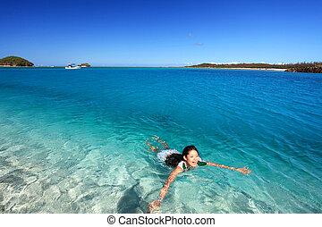 Woman swimming in blue sea