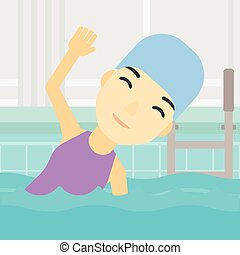 Woman swimming in pool vector illustration. - An asian young...